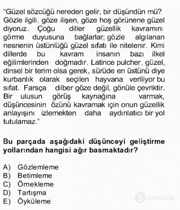 Türk Dili II Bahar Final 6. Soru