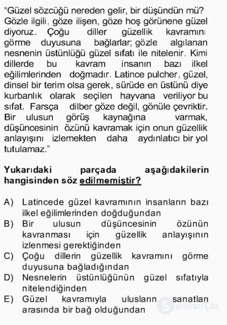 Türk Dili II Bahar Final 7. Soru