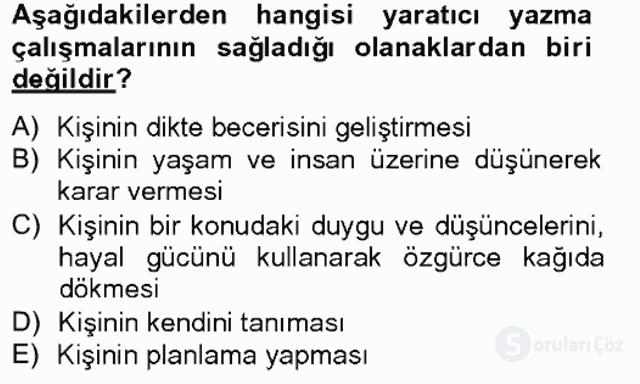 Türkçe Yazılı Anlatım Bahar Final 1. Soru
