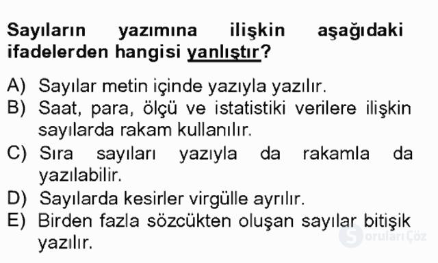 Türkçe Yazılı Anlatım Bahar Final 11. Soru