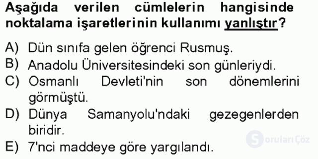 Türkçe Yazılı Anlatım Bahar Final 12. Soru