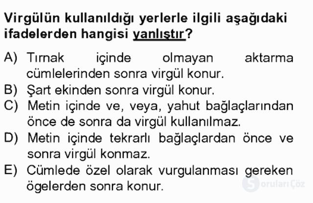 Türkçe Yazılı Anlatım Bahar Final 13. Soru