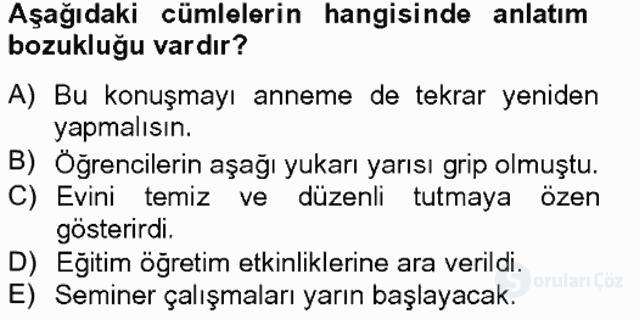 Türkçe Yazılı Anlatım Bahar Final 15. Soru