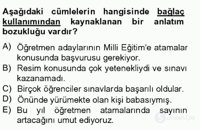 Türkçe Yazılı Anlatım Bahar Final 16. Soru