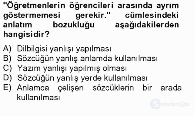 Türkçe Yazılı Anlatım Bahar Final 17. Soru
