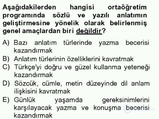 Türkçe Yazılı Anlatım Bahar Final 18. Soru