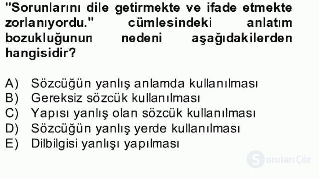 Türkçe Yazılı Anlatım Bahar Final 25. Soru