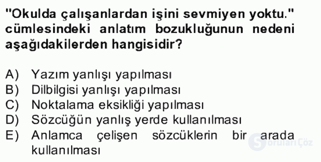 Türkçe Yazılı Anlatım Bahar Final 26. Soru