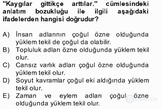 Türkçe Yazılı Anlatım Bahar Final 27. Soru