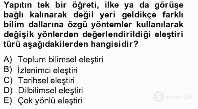 Türkçe Yazılı Anlatım Bahar Final 3. Soru