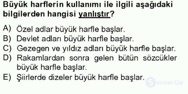 Türkçe Yazılı Anlatım Bahar Final 9. Soru
