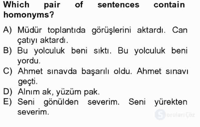Türkçe Tümce Bilgisi ve Anlambilim Bahar Final 11. Soru