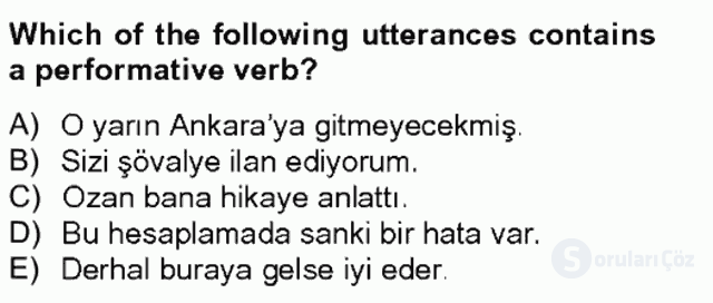 Türkçe Tümce Bilgisi ve Anlambilim Bahar Final 18. Soru