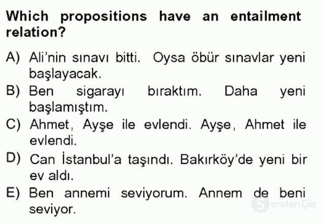 Türkçe Tümce Bilgisi ve Anlambilim Bahar Final 2. Soru