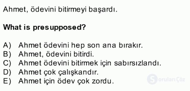 Türkçe Tümce Bilgisi ve Anlambilim Bahar Final 34. Soru