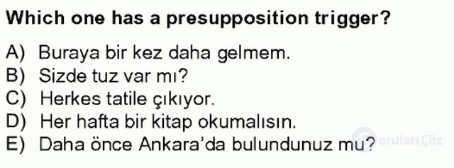Türkçe Tümce Bilgisi ve Anlambilim Bahar Final 7. Soru