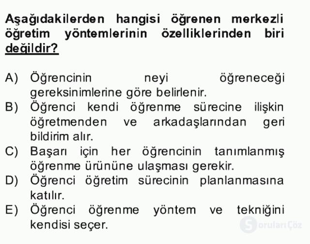 Özel Öğretim Yöntemleri II Bahar Final 6. Soru