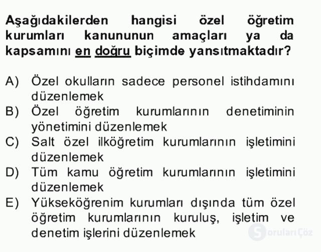 Türk Eğitim Sistemi ve Okul Yönetimi Bahar Final 2. Soru