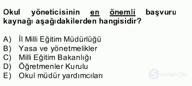Türk Eğitim Sistemi ve Okul Yönetimi Bahar Final 21. Soru