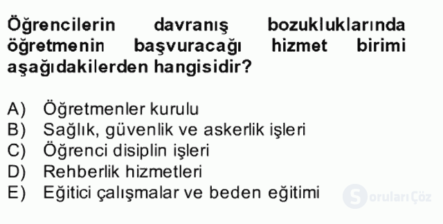 Türk Eğitim Sistemi ve Okul Yönetimi Bahar Final 22. Soru