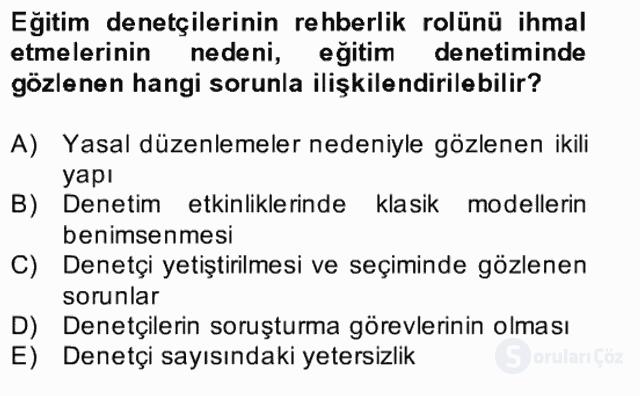 Türk Eğitim Sistemi ve Okul Yönetimi Bahar Final 28. Soru