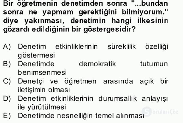 Türk Eğitim Sistemi ve Okul Yönetimi Bahar Final 29. Soru