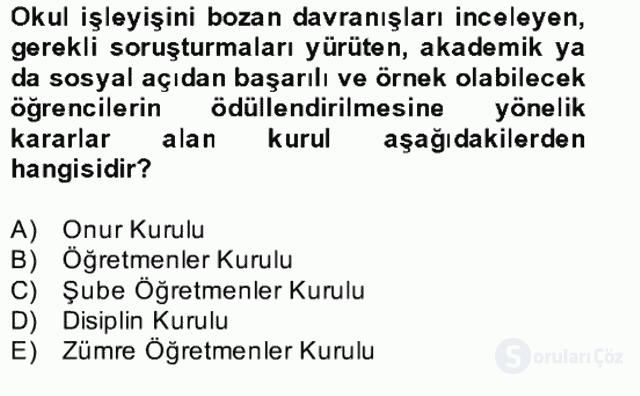 Türk Eğitim Sistemi ve Okul Yönetimi Bahar Final 7. Soru