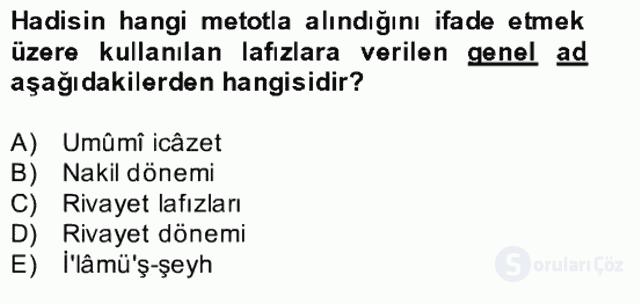 Hadis Tarihi ve Usulü Bahar Final 17. Soru