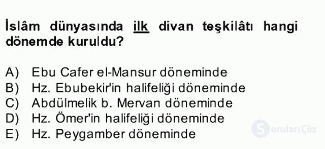 İslâm Kurumları ve Medeniyeti Bahar Final 14. Soru