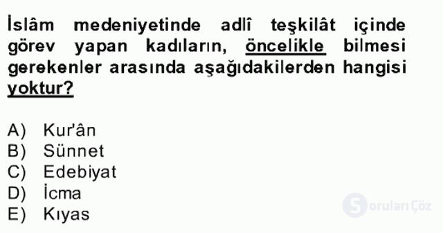 İslâm Kurumları ve Medeniyeti Bahar Final 20. Soru
