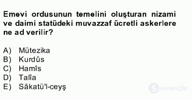İslâm Kurumları ve Medeniyeti Bahar Final 23. Soru