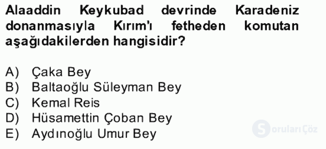 İslâm Kurumları ve Medeniyeti Bahar Final 25. Soru