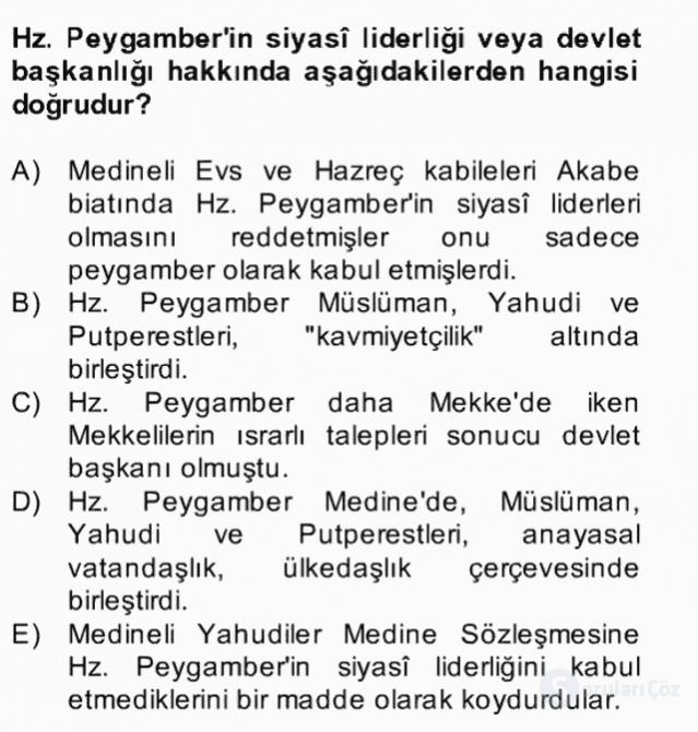 İslâm Kurumları ve Medeniyeti Bahar Final 8. Soru