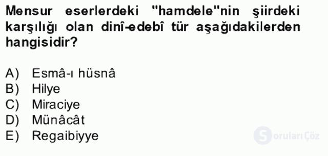 Türk İslâm Edebiyatı Bahar Final 15. Soru