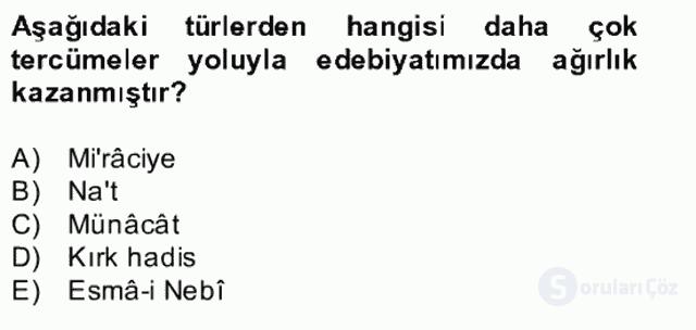 Türk İslâm Edebiyatı Bahar Final 18. Soru