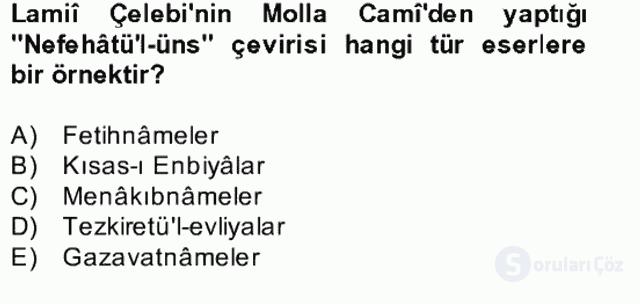 Türk İslâm Edebiyatı Bahar Final 22. Soru