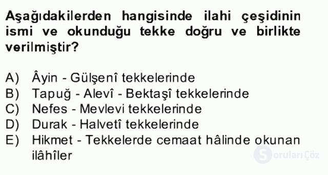 Türk İslâm Edebiyatı Bahar Final 25. Soru