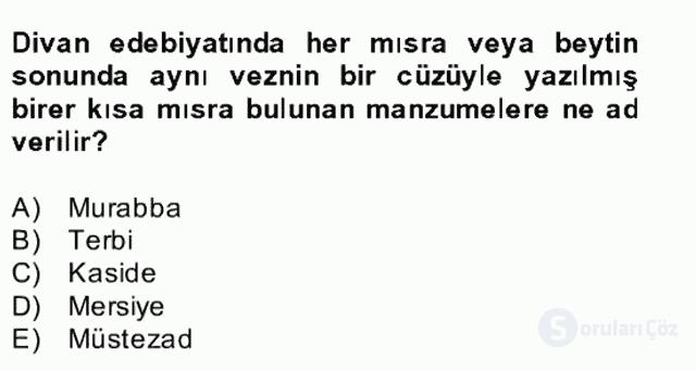 Türk İslâm Edebiyatı Bahar Final 4. Soru