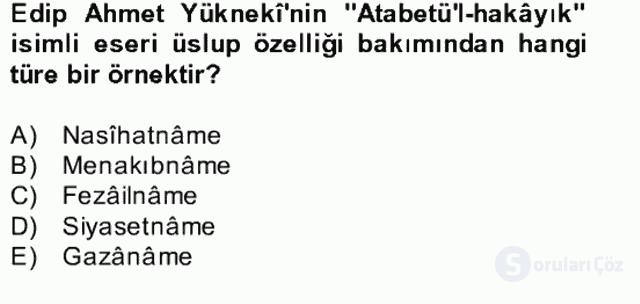 Türk İslâm Edebiyatı Bahar Final 8. Soru