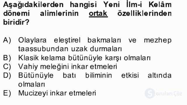 Kelâm'a Giriş Bahar Final 10. Soru