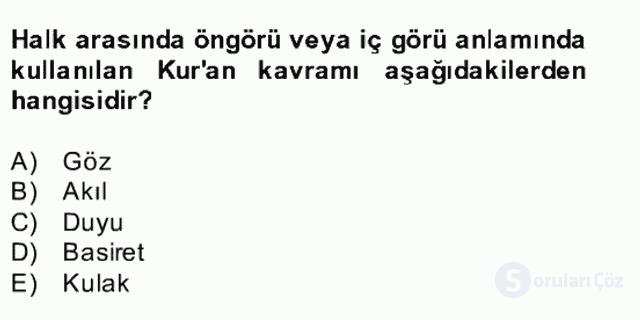 Kelâm'a Giriş Bahar Final 13. Soru