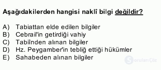Kelâm'a Giriş Bahar Final 14. Soru