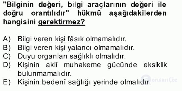 Kelâm'a Giriş Bahar Final 15. Soru