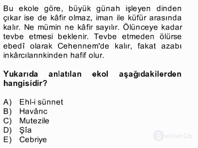 Kelâm'a Giriş Bahar Final 2. Soru