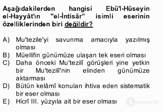Kelâm'a Giriş Bahar Final 22. Soru