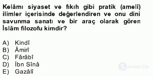 Kelâm'a Giriş Bahar Final 23. Soru