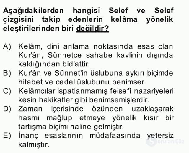 Kelâm'a Giriş Bahar Final 24. Soru