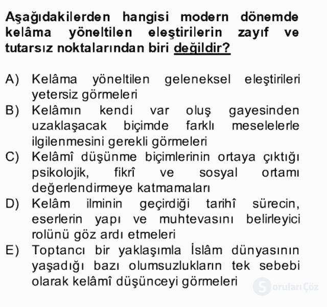 Kelâm'a Giriş Bahar Final 26. Soru
