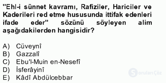 Kelâm'a Giriş Bahar Final 5. Soru