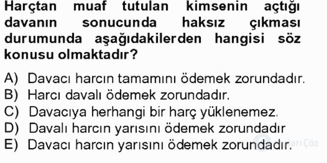 Damga Vergisi ve Harçlar Bilgisi Bahar Final 14. Soru